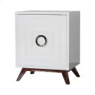 White Lacquer Nightstand With Hardwood Base & Nickel Hardware. Interior Shelf Is Adjustable. Product Image