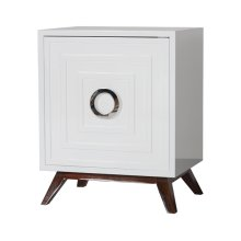 White Lacquer Nightstand With Hardwood Base & Nickel Hardware. Interior Shelf Is Adjustable.