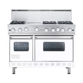 "White 48"" Open Burner Commercial Depth Range - VGRC (48"" wide, six burners 12"" wide griddle/simmer plate)"