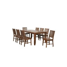 DLU-BR4272-C60-AM9PC  9 Piece Extendable Table Dining Set  8 Slat Back Chairs  Amish Brown