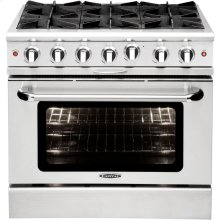 "36"" Gas Range with 6 Open Burners 25K BTU"