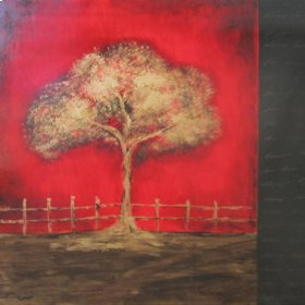 "Art: Red Tree 43""x43"""