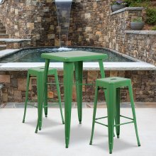23.75'' Square Green Metal Indoor-Outdoor Bar Table Set with 2 Square Seat Backless Stools