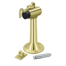 "Floor Mount, 6"" Bumper w/ Hook & Eye, HD, Solid Brass - Polished Brass"