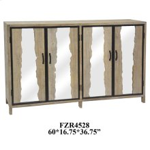 Metal and Mirror Live Edge Wood 4 Door Sideboard
