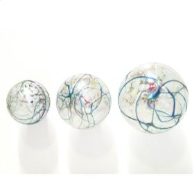 Turquoise lined Balls ( set of 3)