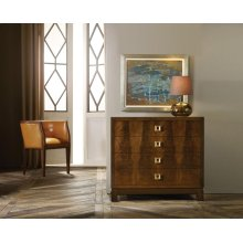 Avignon Bachelor Chest, Feathered Walnut Crotch Veneer. Gold Leaf Hardware.
