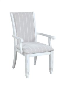 Upholstered Arm Chair-antique White Finish-fabric#dawson-graystone