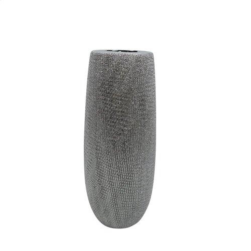 """Ceramic 9.75"""" Vase , Silver"""