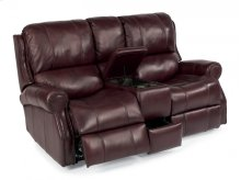 Miles Leather Power Reclining Loveseat with Console
