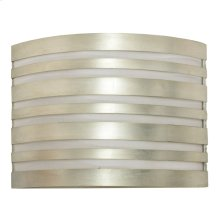 Silver Leaf Striped Sconce With White Inner Shade Ul Approved for Two 40 Watt Candelabra Bulbs