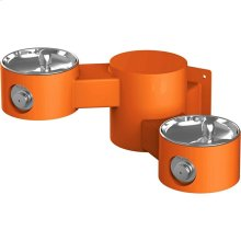 Elkay Outdoor Drinking Fountain Wall Mount, Bi-Level, Non-Filtered Non-Refrigerated, Orange