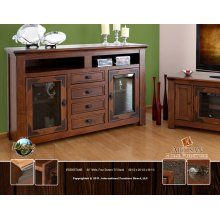 "62"" TV Stand w/4 drawers & 2 glass doors"