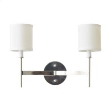 Two Arm Nickel Plated Sconce With Cream Shades.