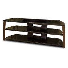 """60"""" Wide Stand, Solid Wood Walnut Finish Accents, Easy Assembly, Accommodates Most 65"""" and Smaller Flat Panels"""