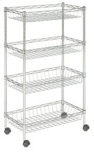 Mario 4 Tier Chrome Wire Basket Rack - Chrome Product Image