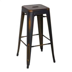 Metropolis Metal Backless Bar Stool, Distressed Copper
