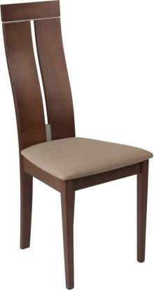 Avalon Walnut Finish Wood Dining Chair with Clean Lines and Magnolia Brown Fabric Seat