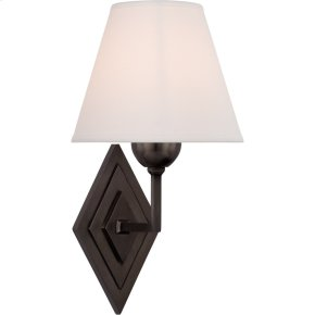 Visual Comfort AH2050GM-PL Alexa Hampton Bettina 8 inch Gun Metal Sconce Wall Light, Alexa Hampton, Natural Percale Shade
