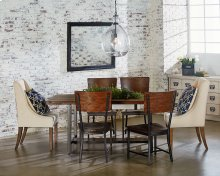 Industrial Dining with Demi-Wing Chairs