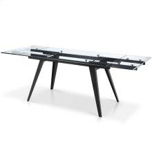 Sharp Rectangular Glass Top Extension Dining Table