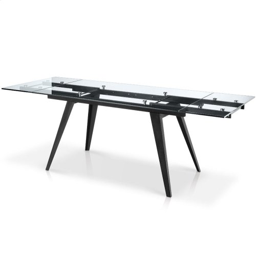 Sharp Rectangular Glass Top Extension Dining Table
