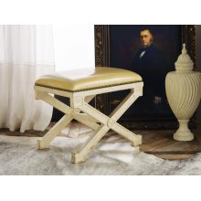 Continental Stool, Antique Painted Finish W/ivory Leather & Nail Heads.