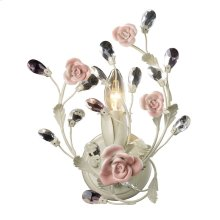 Heritage 1-Light Vanity Lamp in Cream with Porcelain Roses and Crystal