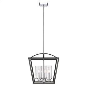 Mercer 3 Light Pendant in Black with Seeded Glass