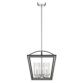 Mercer 3 Light Pendant in Black with Seeded Glass