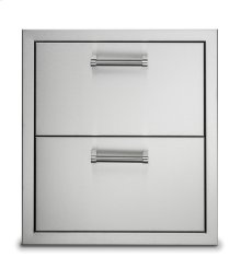 "19"" Stainless Steel Double Drawers"