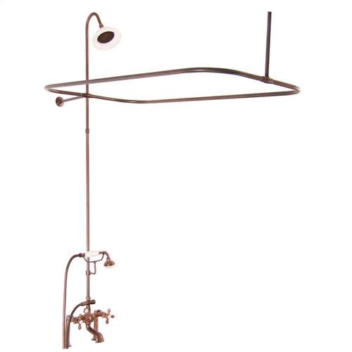 Tub/Shower Converto Unit - Elephant Spout, Shower Ring, Riser, Showerhead - Cross / Oil Rubbed Bronze