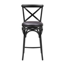 Distressed Antique Black Metal Swivel Barstool
