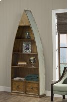 Tuscan Retreat® Dinghy Boat 4 Shelves Bookcase With Drawers - Sea Blue Product Image