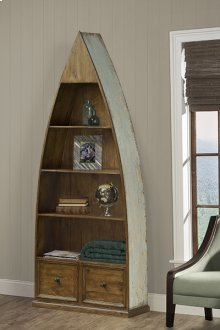Tuscan Retreat® Dinghy Boat 4 Shelves Bookcase With Drawers - Sea Blue