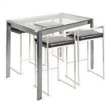 Fuji 5-piece Counter Set - Brushed Stainless Steel, Black Pu