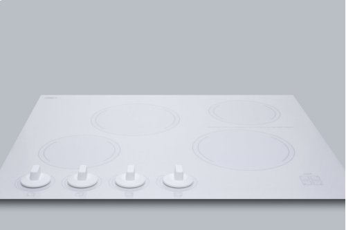 "24"" Wide 4-burner Radiant Cooktop Made In France With White Ceramic Glass Surface"
