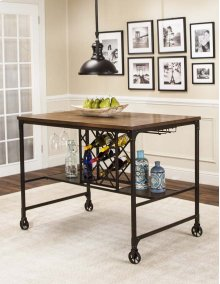 CR-W3075  Pub Table with Built-In Wine Rack