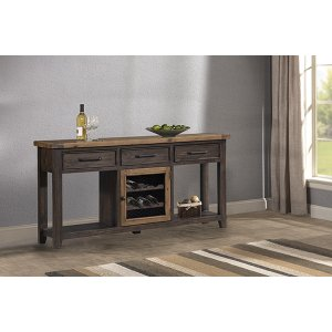 Hillsdale FurnitureTuscan Retreat(r) Sofa Table With Metal Door Wine Rack - Case Sua Two-tone / Brushed Bronze
