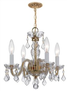 Traditional Crystal4 Light Clear Swarovski StrassCrystal Brass Mini Chandelier