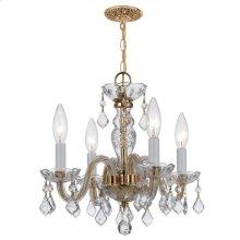 Traditional Crystal 4 Light Clear Swarovski Strass Crystal Brass Mini Chandelier