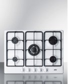 "5-burner Gas Cooktop Made In Italy In A White Finish With Sealed Burners, Cast Iron Grates, and Wok Stand; Fits Standard 24"" Wide Cutouts Product Image"