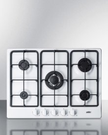 """5-burner Gas Cooktop Made In Italy In A White Finish With Sealed Burners, Cast Iron Grates, and Wok Stand; Fits Standard 24"""" Wide Cutouts"""