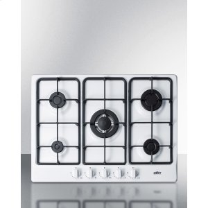5-burner Gas Cooktop Made In Italy In A White Finish With Sealed Burners, Cast Iron Grates, and Wok Stand; Fits Standard 24