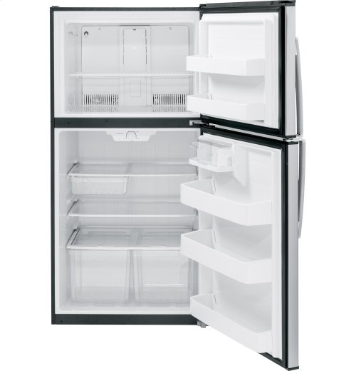 RED HOT BUY-BE HAPPY! GE® ENERGY STAR® 21.2 Cu. Ft. Stainless Top-Freezer Refrigerator