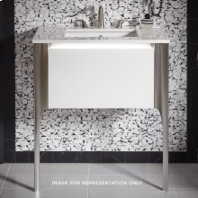 "Balletto 30-1/2"" X 15"" X 21-3/4"" Single Drawer Vanity In Beach With Slow-close Plumbing Drawer and Legs In Chrome"