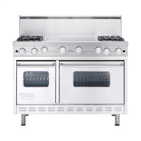 "White 48"" Open Burner Commercial Depth Range - VGRC (48"" wide, four burners 24"" wide griddle/simmer plate)"