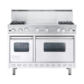 "White 48"" Open Burner Commercial Depth Range - VGRC (48"" wide, four burners 24"" wide griddle/simmer plate)"