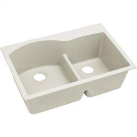 "Elkay Quartz Luxe 33"" x 22"" x 10"", Offset 60/40 Double Bowl Top Mount Sink with Aqua Divide, Ricotta"