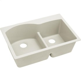 "Elkay Quartz Luxe 33"" x 22"" x 10"", Offset 60/40 Double Bowl Drop-in Sink with Aqua Divide, Ricotta"